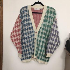 Vintage pastel color blocking knit cardigan